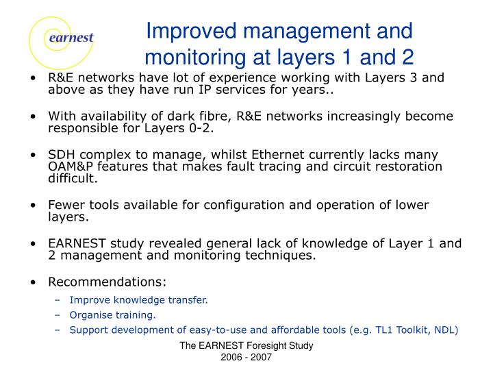Improved management and monitoring at layers 1 and 2