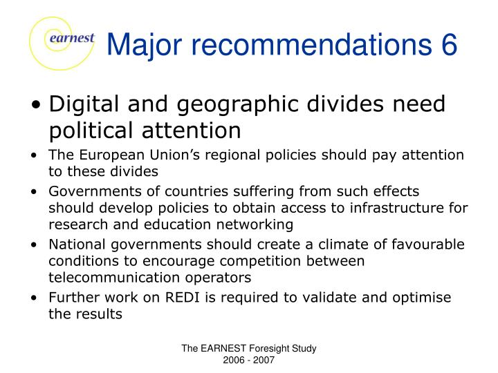 Major recommendations 6