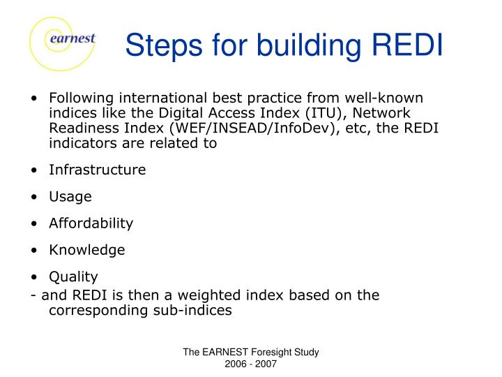 Steps for building REDI