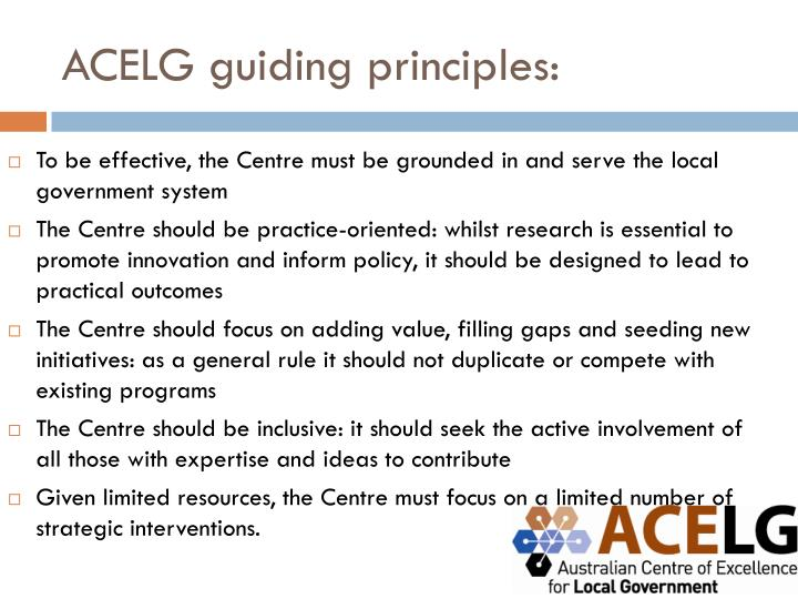ACELG guiding principles: