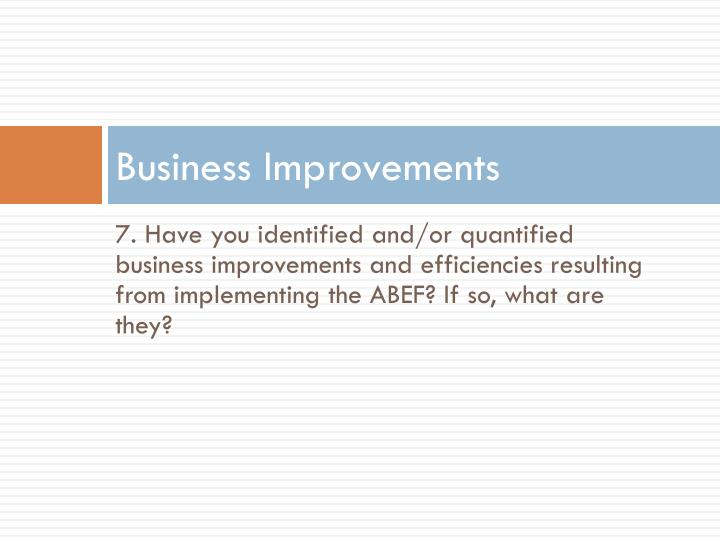 Business Improvements