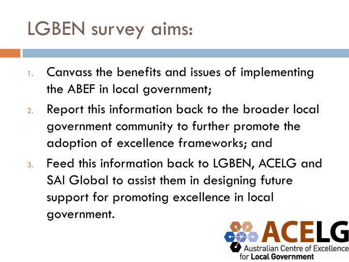 LGBEN survey aims: