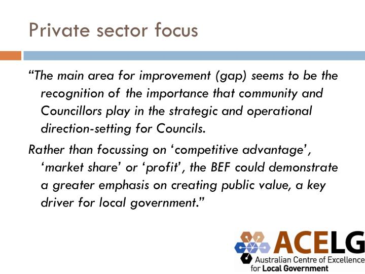 Private sector focus
