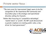 private sector focus