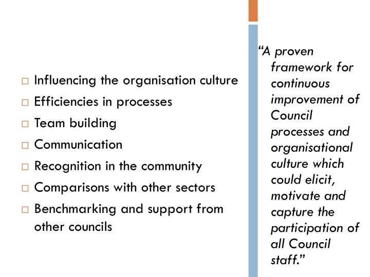Influencing the organisation culture