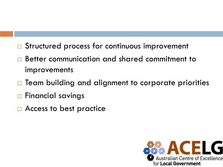 Structured process for continuous improvement
