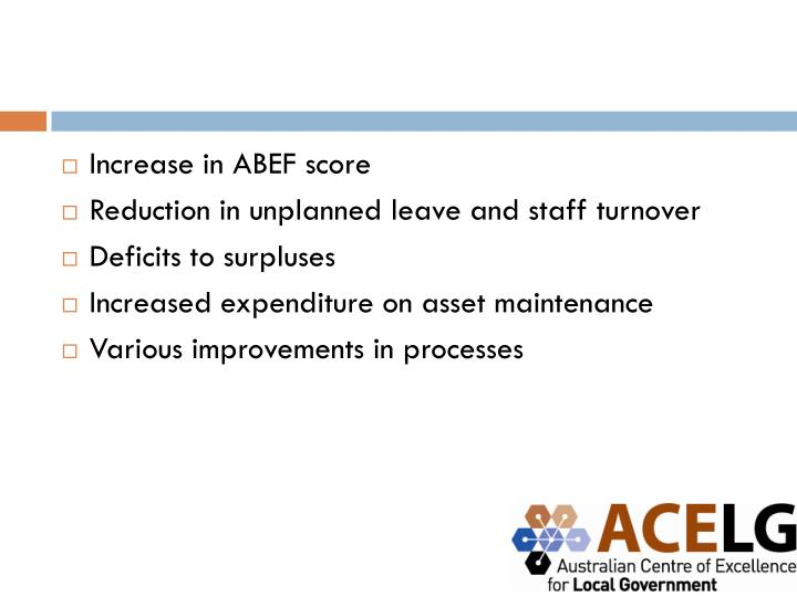 Increase in ABEF score