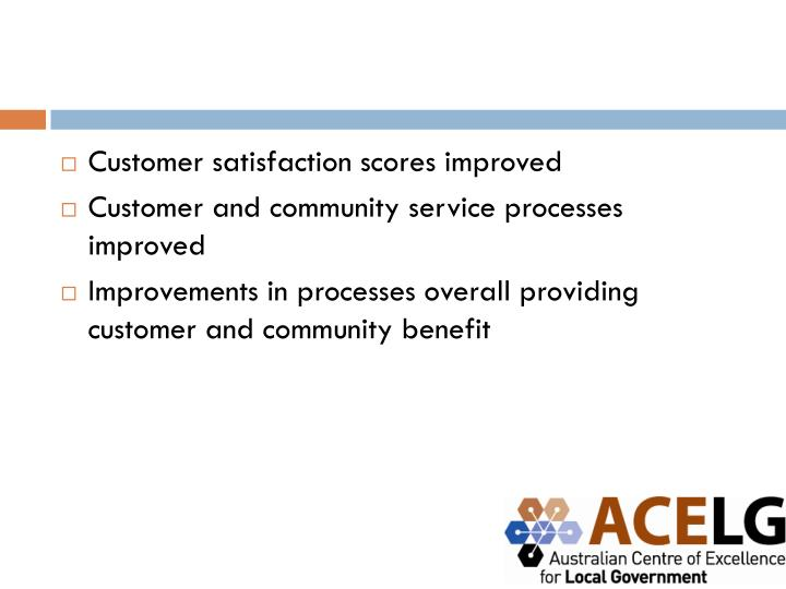 Customer satisfaction scores improved