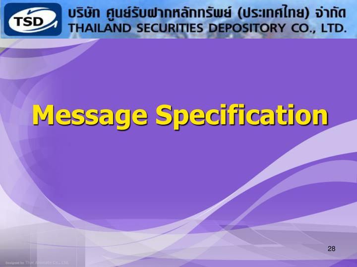 Message Specification