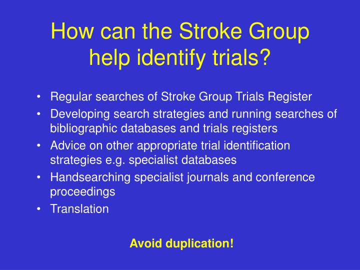 How can the Stroke Group help identify trials?