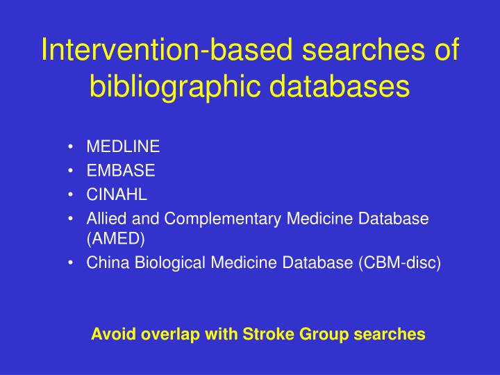 Intervention-based searches of bibliographic databases