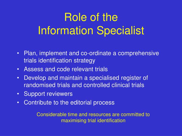 Role of the information specialist