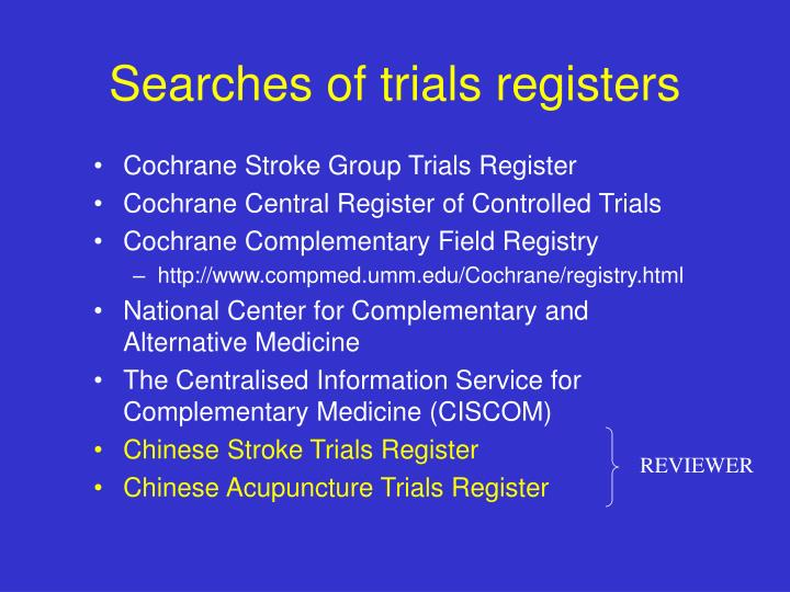 Searches of trials registers