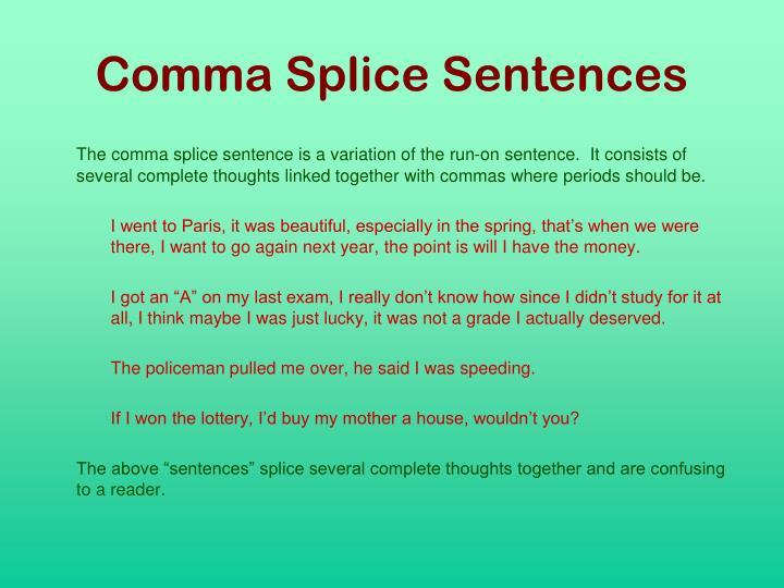Comma Splice Sentences