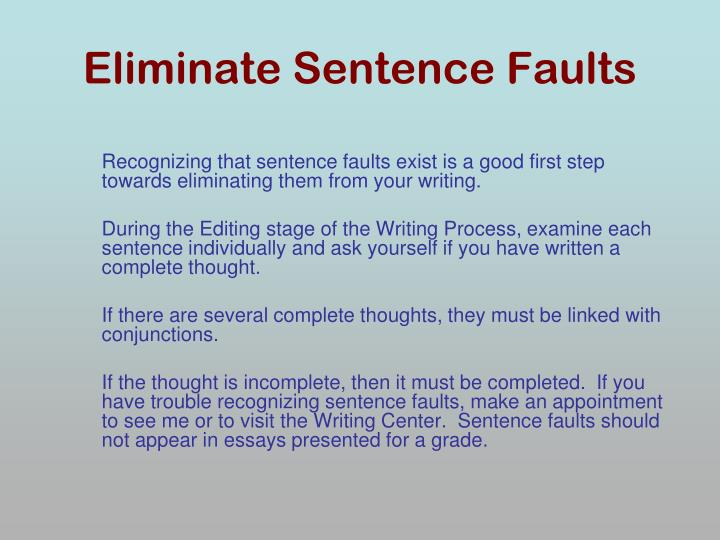 Eliminate Sentence Faults