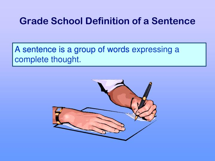 A sentence is a group of words expressing a complete thought.