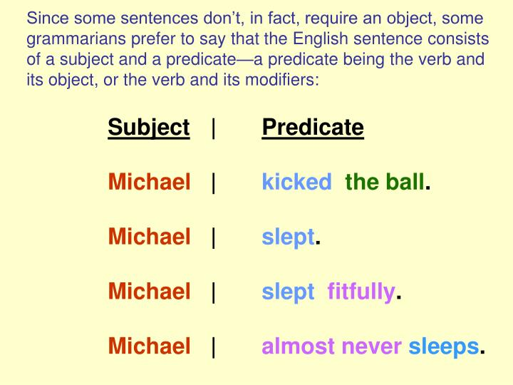 Since some sentences don't, in fact, require an object, some grammarians prefer to say that the English sentence consists of a subject and a predicate—a predicate being the verb and its object, or the verb and its modifiers: