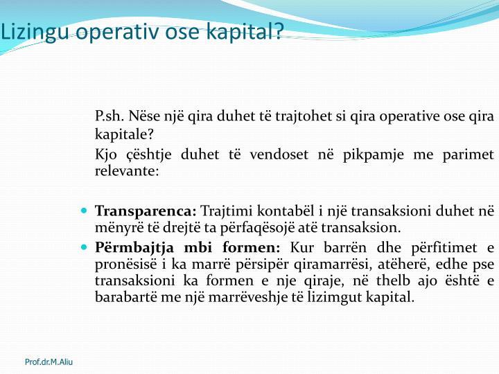 Lizingu operativ ose kapital?
