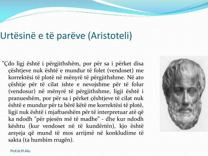 Urtësinë e të parëve (Aristoteli)