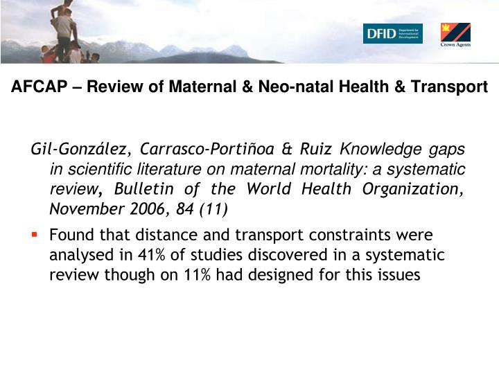 AFCAP – Review of Maternal & Neo-natal Health & Transport