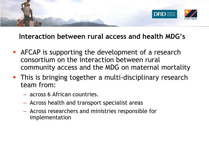 Interaction between rural access and health MDG's