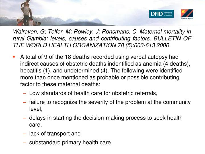 Walraven, G; Telfer, M; Rowley, J; Ronsmans, C. Maternal mortality in rural Gambia: levels, causes and contributing factors. BULLETIN OF THE WORLD HEALTH ORGANIZATION 78 (5):603-613 2000