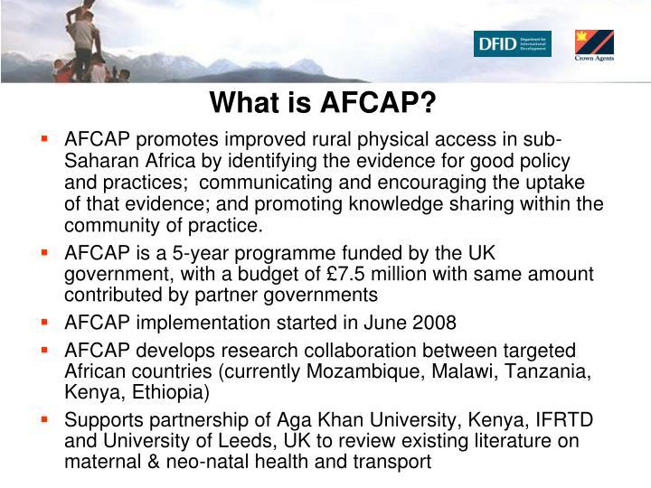 What is AFCAP?