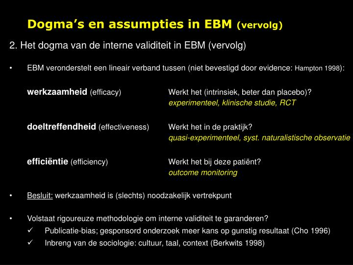 Dogma's en assumpties in EBM