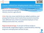 causes behind low employment rates of roma