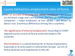 causes behind low employment rates of roma1