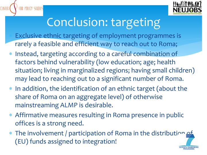 Conclusion: targeting