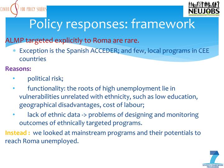 Policy responses: framework