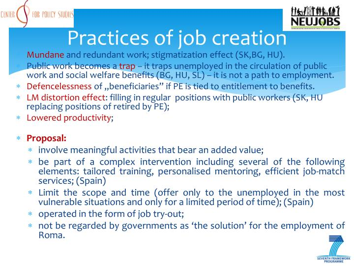 Practices of job creation