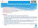 practices of job creation