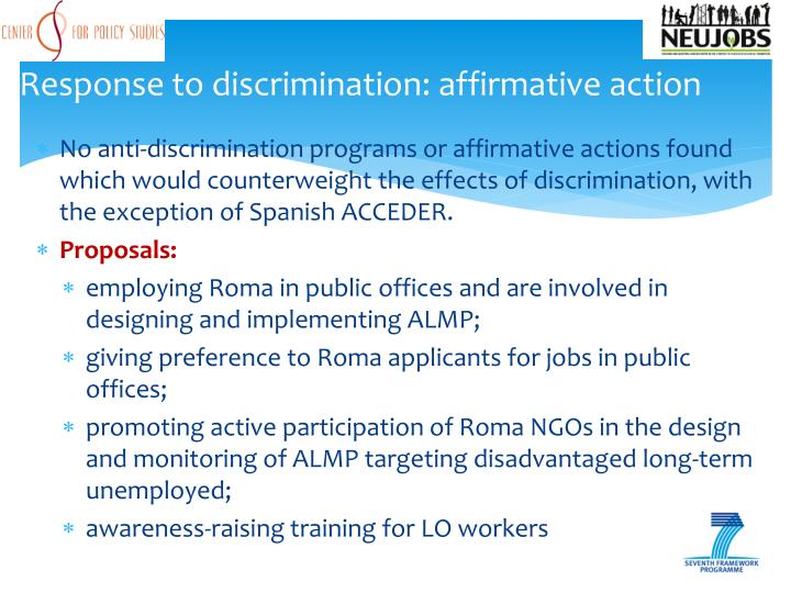 Response to discrimination: affirmative action