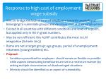 response to high cost of employment wage subsidy