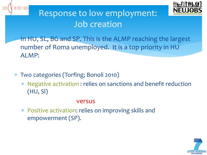 Response to low employment: