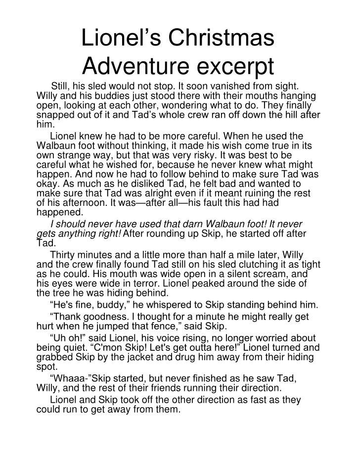 Lionel's Christmas Adventure excerpt