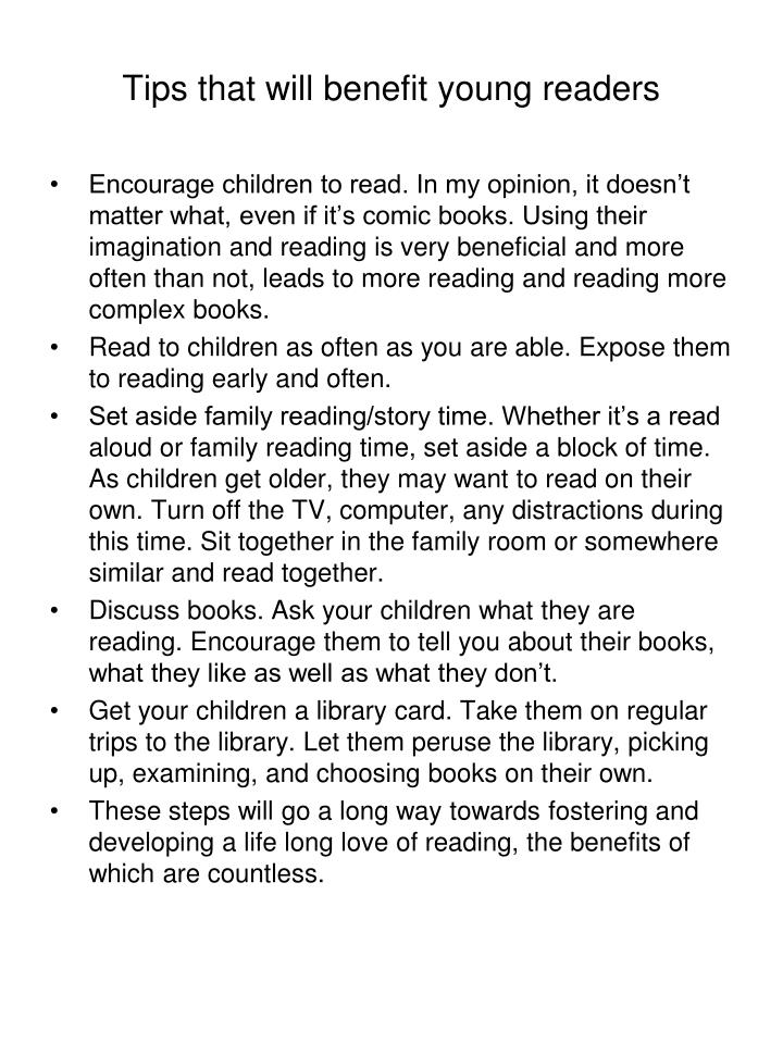 Tips that will benefit young readers