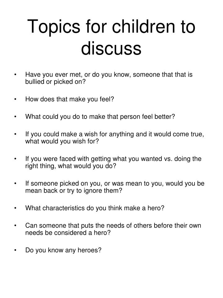 Topics for children to discuss