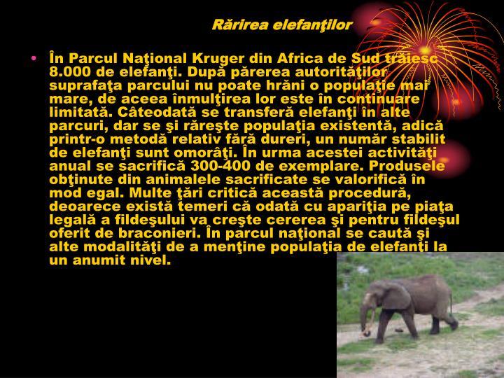 Rărirea elefanţilor