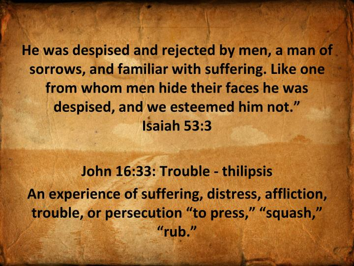 He was despised and rejected by men, a man of sorrows, and familiar with suffering. Like one from whom men hide their faces he was despised, and we esteemed him not.