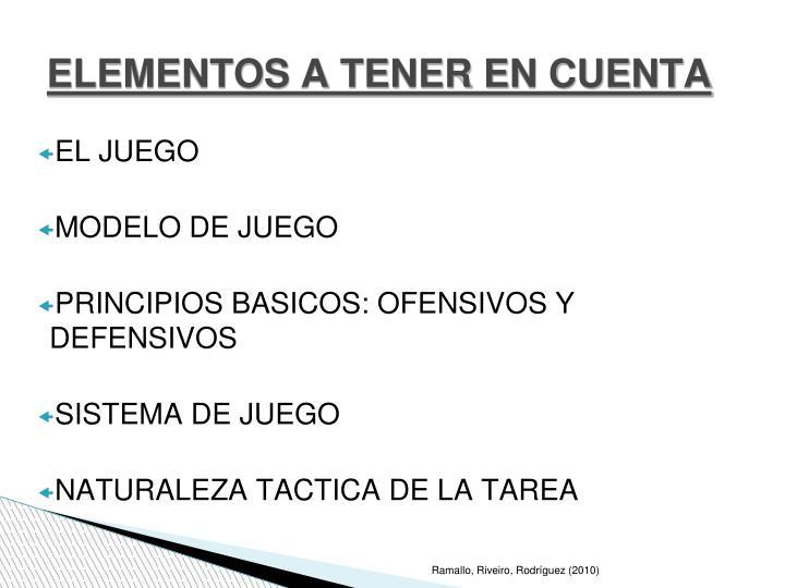 ELEMENTOS A TENER EN CUENTA