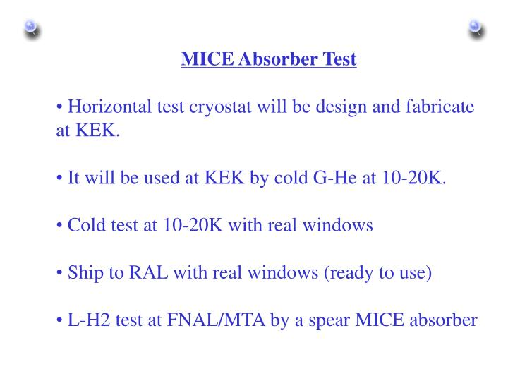 MICE Absorber Test
