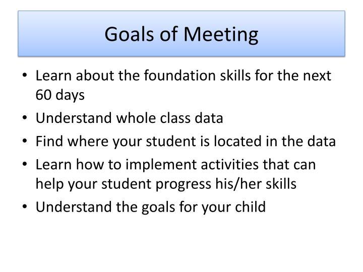 Goals of Meeting