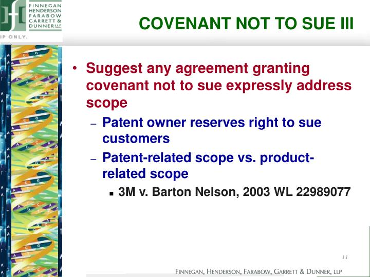 COVENANT NOT TO SUE III