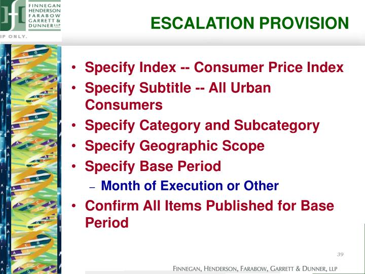 ESCALATION PROVISION