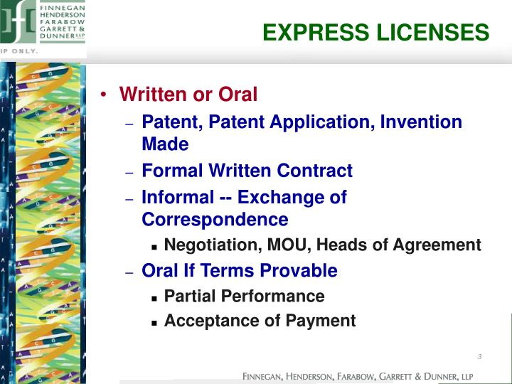EXPRESS LICENSES