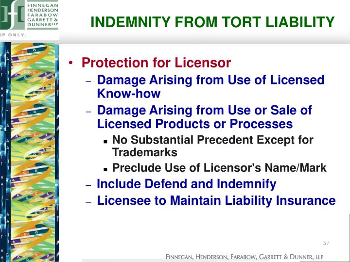 INDEMNITY FROM TORT LIABILITY