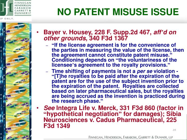 NO PATENT MISUSE ISSUE